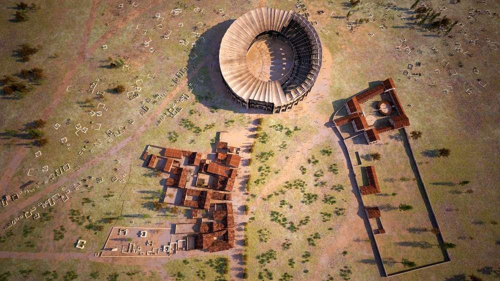 Überblick über Tavernen, Amphitheater und Gladiatiorenschule