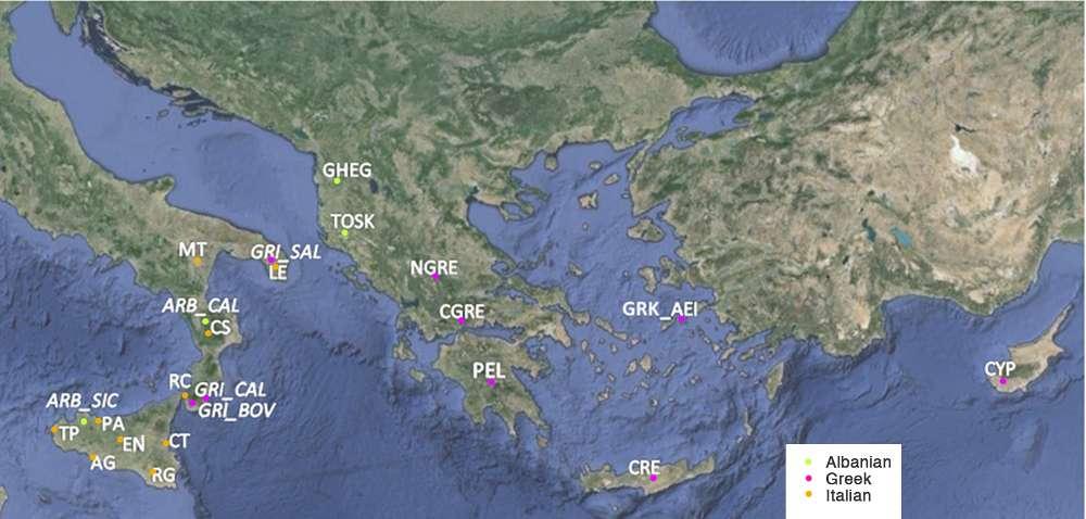 Karte der albanisch-, griechisch- oder italienischsprachigen Orte an denen die Gen-Proben für die Studie gesammelt wurden
