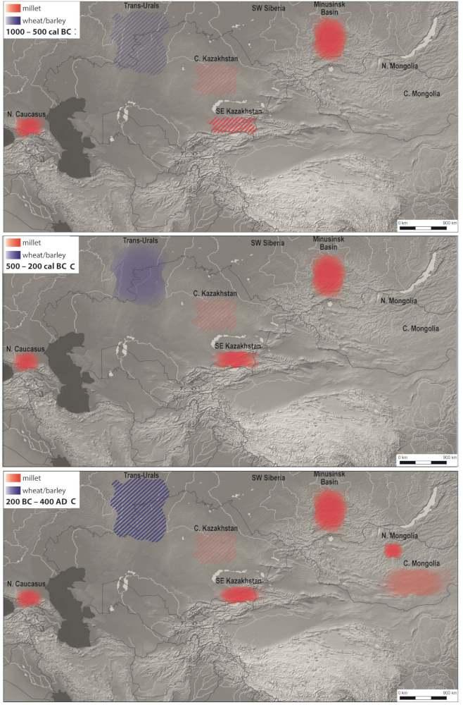 Karte des Hirse- und Weizen- bzw. Gerste-Verbrauchs im Zeitverlauf