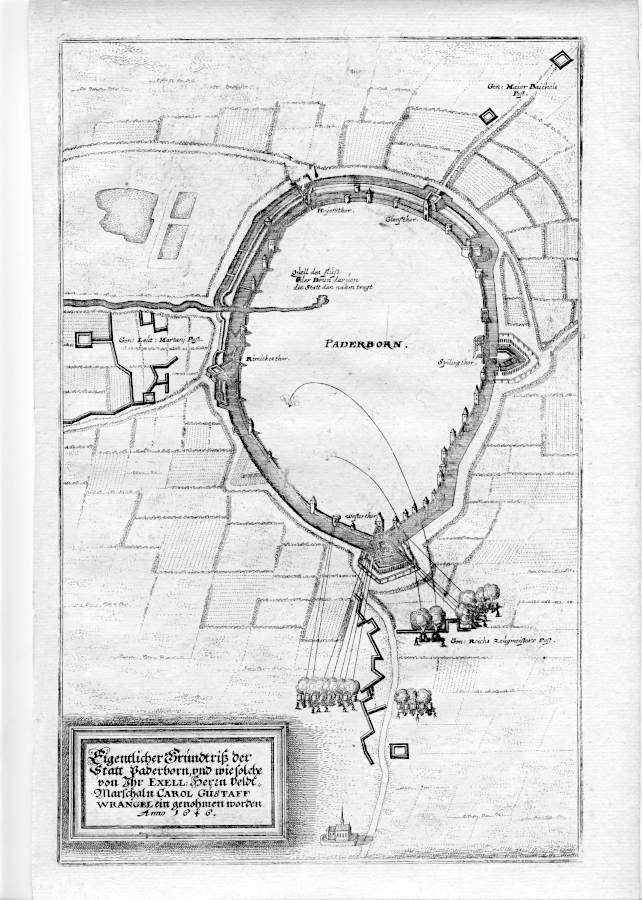 Der Kupferstich zeigt Paderborn unter Belagerung durch die Schweden während des Dreißigjährigen Krieges 1646