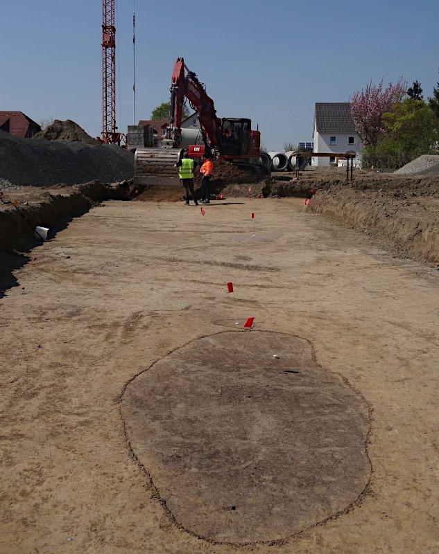 Deutlich heben sich in dem schmalen Schnitt die archäologisch relevanten Gruben ab