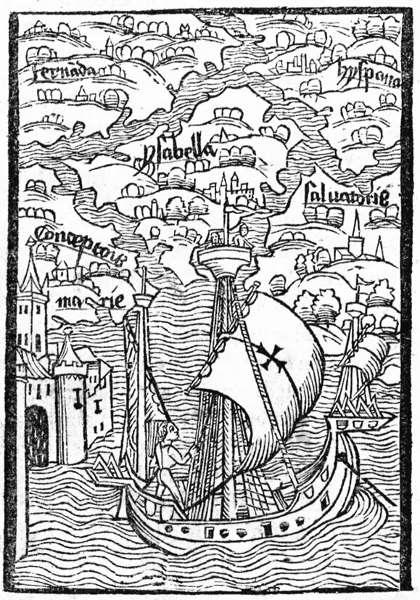 "Holzschnitt aus ""Epistola de insulis nuper inventis"", Basel 1493"
