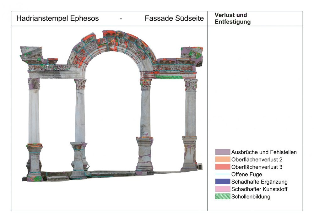 Schadbild des Hadrianstempels