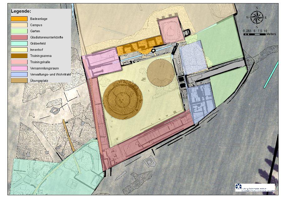 Plan der einzelnen Bereiche nach den Bodenradarmessungen durch das Ludwig Boltzmann Institut für Archäologische Prospektion und Virtuelle Archäologie (Abb. LBI ArchPro)