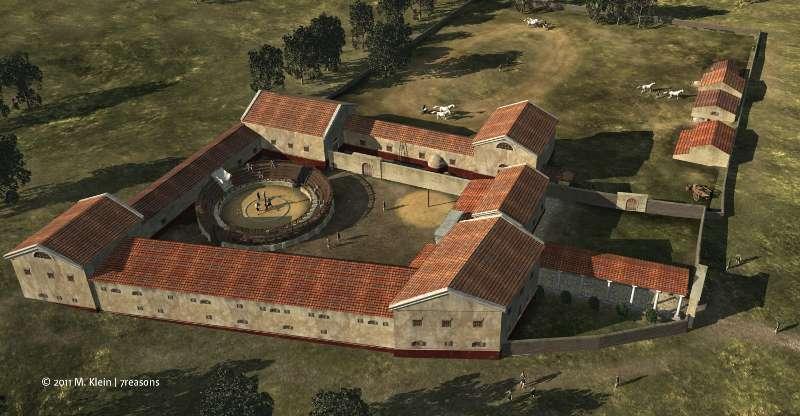 3D-Rekonstruktion der Galdiatorenschule von Carnuntum von oben (Abb. M.Klein / 7reasons)