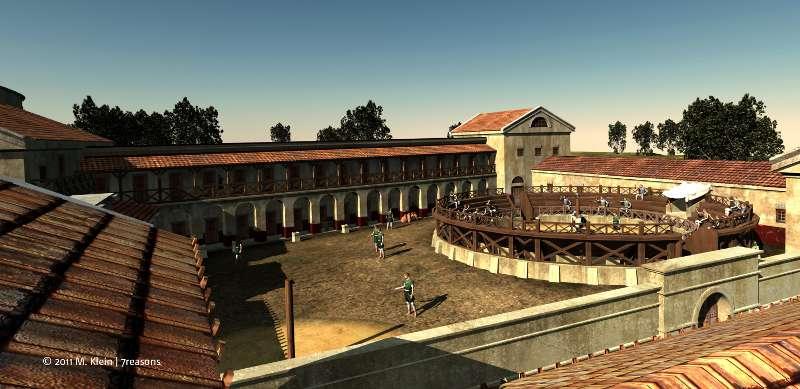 Rekonstruierter Blick in den Innenhof der Gladiatorenschule mit der Trainingsarena (Abb. M.Klein / 7reasons)