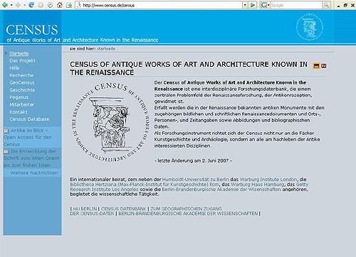 Das Census-Projekt im Internet.