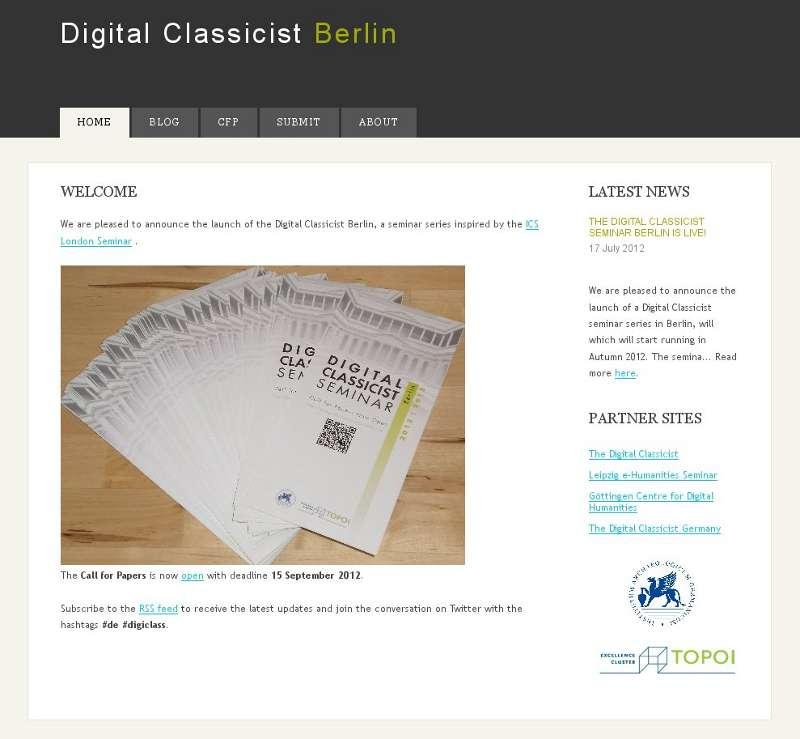 Homepage Digital Classicist Berlin