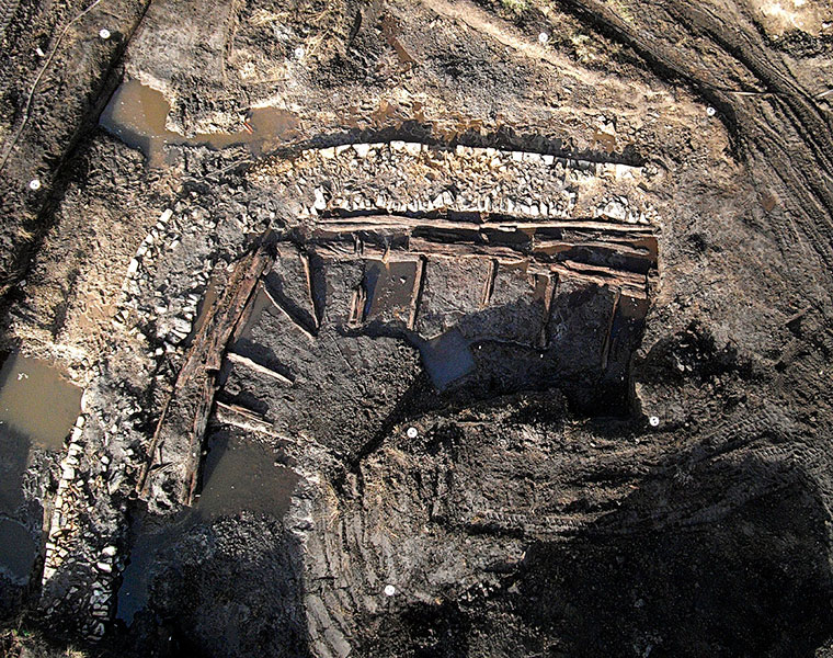 Nordwestlicher Eckbereich der hochmittelalterlichen Burgwall-Kosntruktion