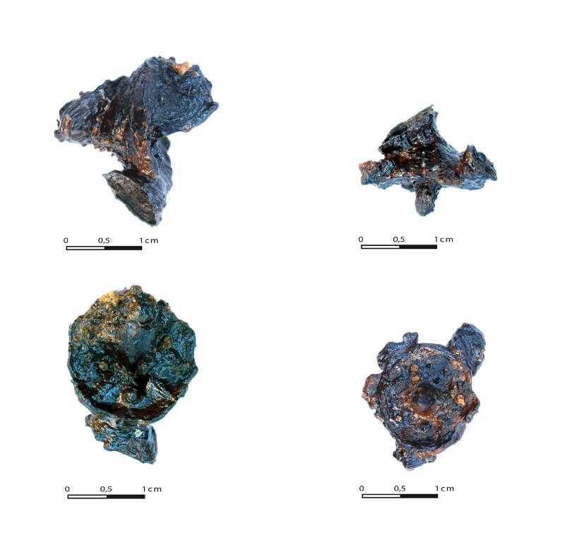 Diese eisernen Schuhnägel zierten einst die Sohlen der Sandalen römischer Soldaten. Auf ihrer Unterseite sind meist die für spätrepublikanische Stücke typischen Muster aus Kreuz und 4 Buckeln zu erkennen. (© Sabine Hornung/Arno Braun, JGU)