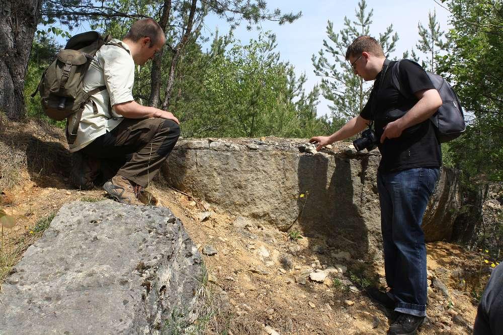 Probenahme im Steinbruch Norroy