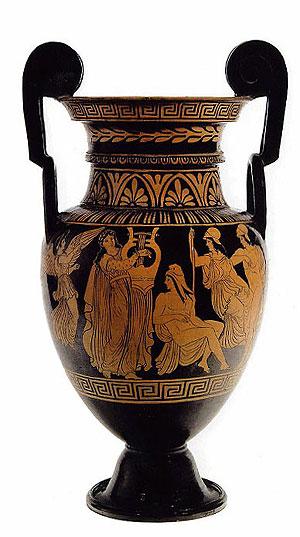 Klassizistischer Volutenkrater mit Apollon als Kitharöde