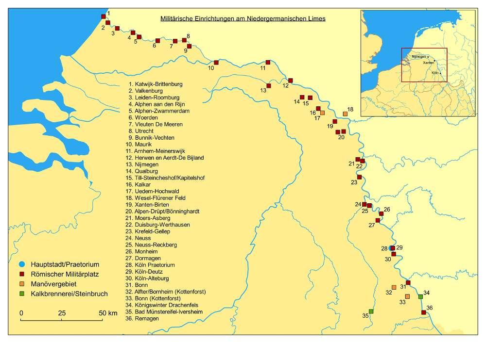 Karte mit wichtigen militärischen Einrichtungen des römischen Militärs in der Provinz Niedergermanien