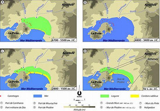 Entwicklung der Küstenlandschaft zwischen Athen und Piräus