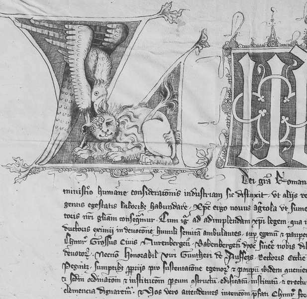 Ausschnitt eines Privilegs Kaiser Ludwigs des Bayern aus dem Jahr 1341 (Quelle: Bayerisches Hauptstaatsarchiv München; Foto: LBA)