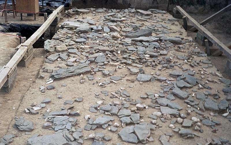 Ausgrabungen auf dem über 15.000 Jahre alten Fundplatz Gönnersdorf. Charakteristisch für Gönnersdorf ist die dichte Lage der vielen gravierten und ungravierten Schieferplatten (Foto: MONREPOS)