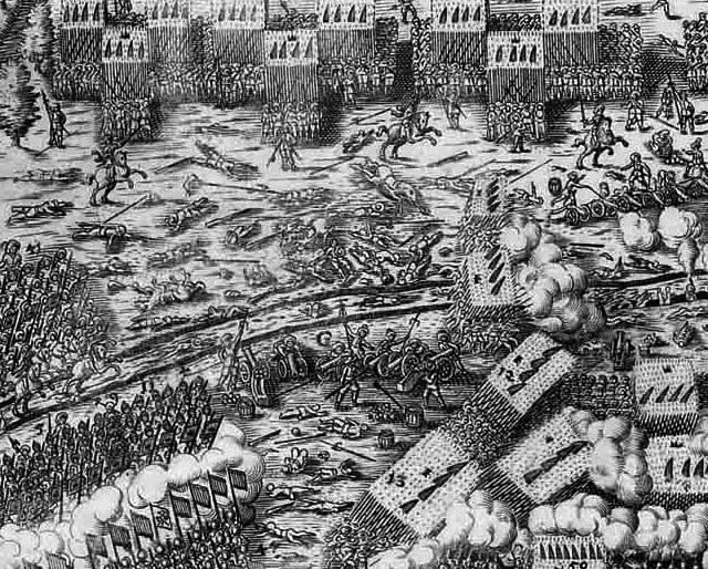 Zeitgenössische Darstellung der Schlacht von Lützen (Detail)