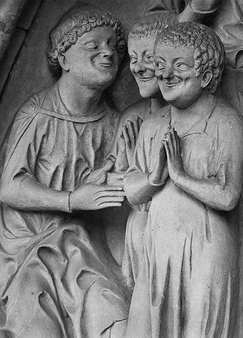 Detail aus der Darstellung des Jüngsten Gerichts, um 1230, am sog. »Fürstenportal« des Bamberger Doms (Foto: Dommuseum Mainz)