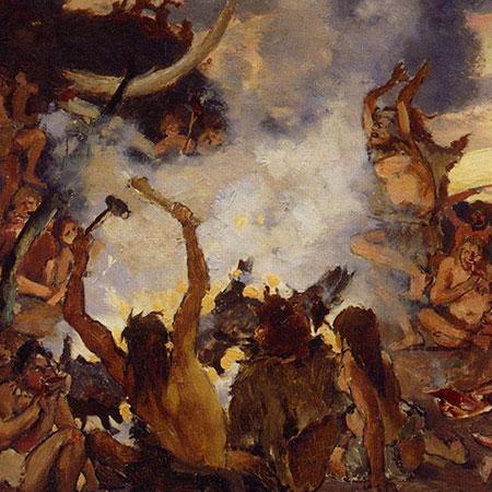 »Steinzeit: Das Fest« (Ausschnitt). Gemälde von W. M. Wassnezow, 1883