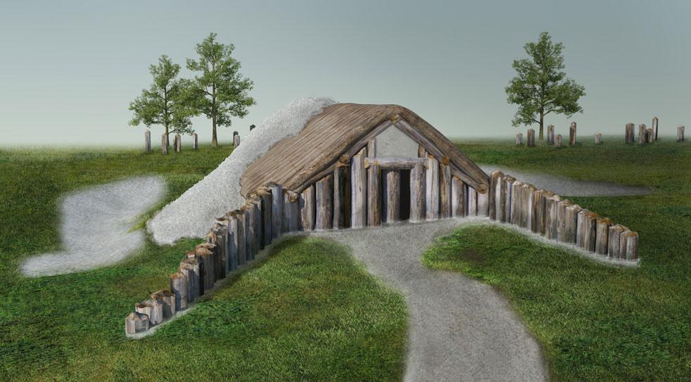 Long barrow bei Durrington Walls (Rekonstruktion)