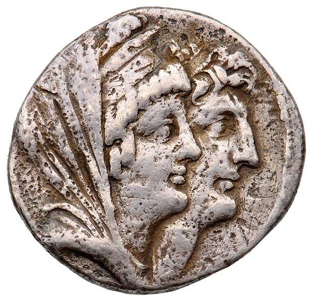 Tetradrachme mit Kleopatra Thea und ihrem Sohn Antiochos VIII