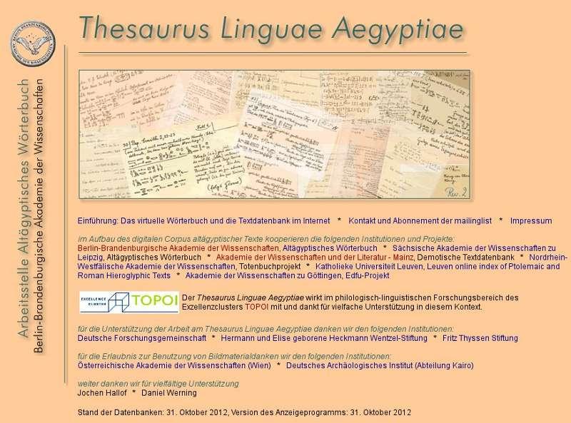 """Startseite """"Thesaurus Linguae Aegyptiae"""""""