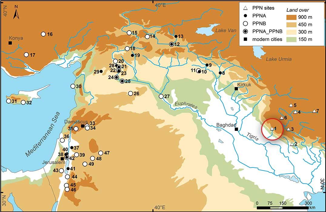 Karte Fruchtbarer Halbmond mit Ausgrabungsorten