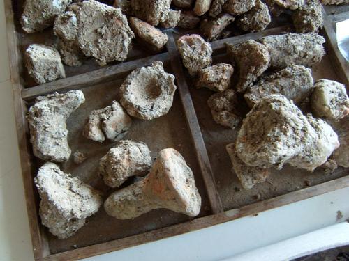 Die noch ungewaschenen Bruchstücke von tönernen Tiegeln und Säulchen