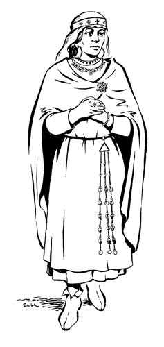 """Rekonstruktion der Kleidung einer reich mit Schmuck ausgestatteten Dame der Zeit """"um 700"""""""