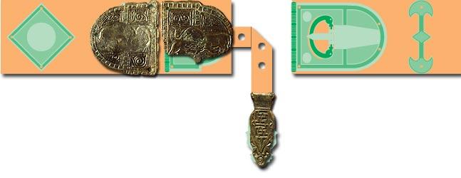 Rekonstruktion eines spätrömischen Militärgürtels mit Gürtelbeschlägen vom Kügeleskopf