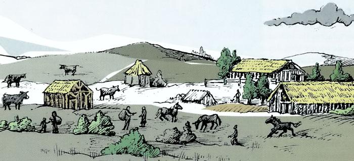 Rekonstruktion eines frühalamannischen Gehöftes