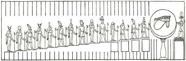 Die Phasen des zunehmenden Mondes, Darstellung im Tempel von Edfu (aus: Budge 1904)