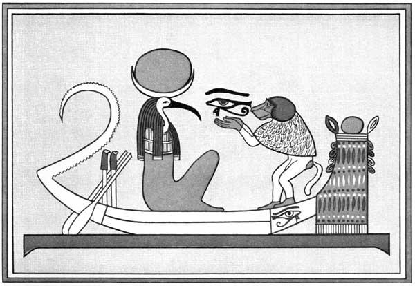 Thot als Mondgott erhält das lunare Auge (aus: Budge 1904)