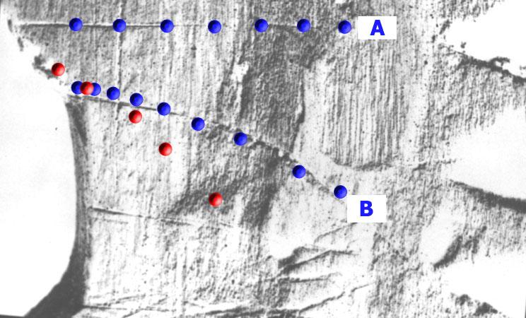 Abb. 8: Ausschnitt der Scheibe von Uunartoq (Negativbild) mit den als Schattenbahnen zur Tagundnachtgleiche (A) und Sommersonnenwende (B) gedeuteten Ritzungen. Eine Übereinstimmung läßt sich nur für eine Breite von 30° finden (blaue Punkte). Eine Breite von 60° kann ausgeschlossen werden, da sich die entsprechenden roten Punkte nicht mit B zur Deckung bringen lassen. Beschreibt B hingegen die Schattenbahn zu einem anderen (unbekannten) Termin, so läßt sich nichts über die Breite der Schiffsroute aussagen