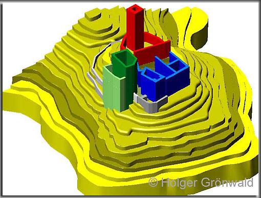 CAD-Modell der Burg Cucagna und der topographischen Lage.