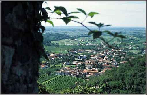 Blick von der Burg in die Ebene mit der Ortschaft Faedis. (Foto: B. Krüger)
