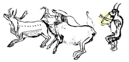 """Höhlenmalerei aus der französischen Höhle Les Trois Frères mit Darstellung eines """"Schamanen"""""""