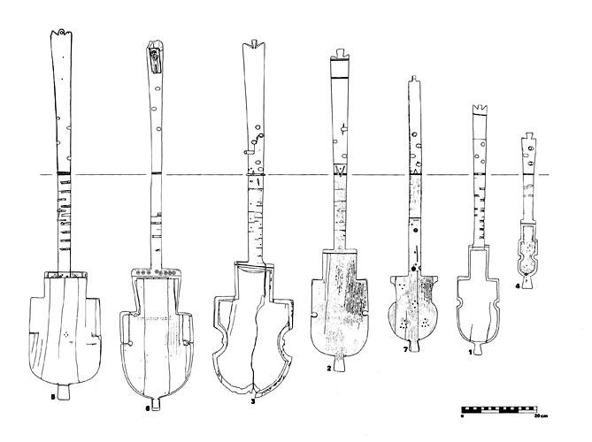 Die sieben erhaltenen 'koptischen Lauten' im Größenvergleich