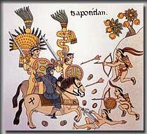 Für Azteken waren Männer auf Pferden wahre Zaubergestalten, die sich am Abend wundersamerweise in zwei eigene Wesen aufspalteten, um am nächsten Tag wieder zusammenzuwachsen (Bild: Federseemuseum)