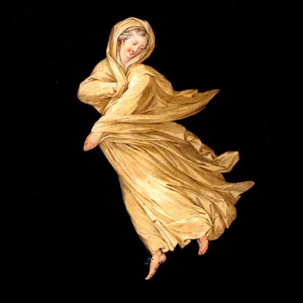 Abb. 5c| Schwebende Tänzerin aus dem Kaminzimmer der Villa Hamilton in Wörlitz. Kolorierte Radierung, Tommaso Piroli © Kulturstiftung DessauWörlitz, Bildarchiv, Heinz Fräßdorf