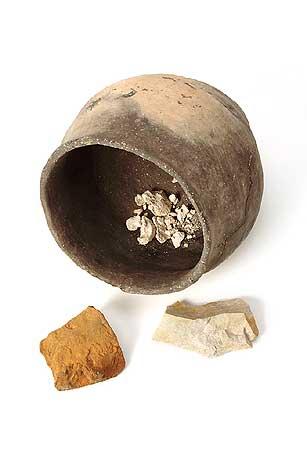 Keramikgefäß mit Tierknochen und Steinen aus einer Opfergrube, Schnippenburg, 3. Jh. v.Chr. (Foto: Axel Hartmann)
