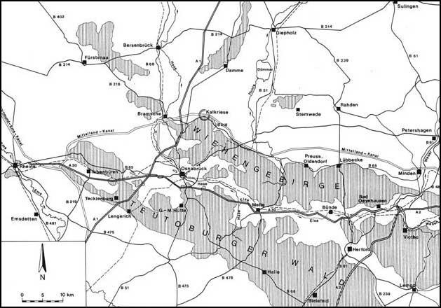 Die Lage des Untersuchungsgebietes »Kalkriese« am Nordrand des Wiehengebirges (Abb.: Varusschlacht im Osnabrücker Land, Museum und Park Kalkriese, Abt. Archäologie)