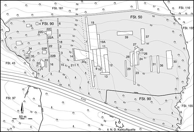 Die Fundstelle Kalkriese-Oberesch mit heutiger Topographie und Grabungsschnitten (Abb.: Varusschlacht im Osnabrücker Land, Museum und Park Kalkriese, Abt. Archäologie)