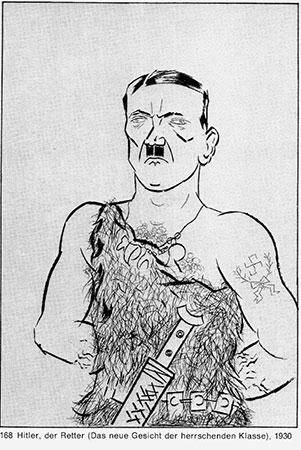 George Grosz: Siegfried Hitler. Zeichnung erschienen in: Die Pleite 5. Jg., November 1923, Heft 8