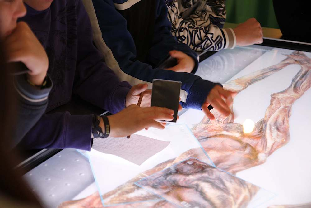 Interaktiver Leuchttisch mit Bildern von Ötzi