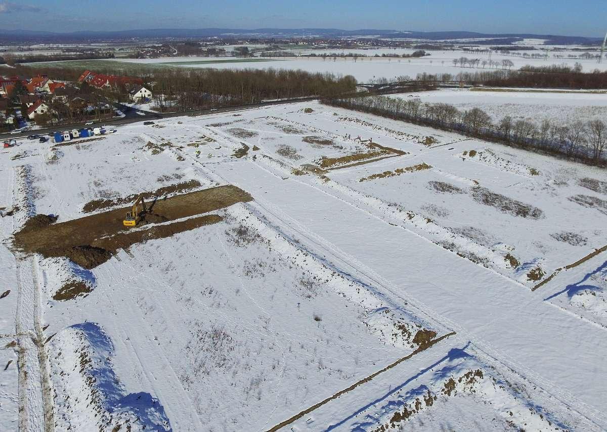 Luftbild auf den nordöstlichen Bereich der Grabungsfläche